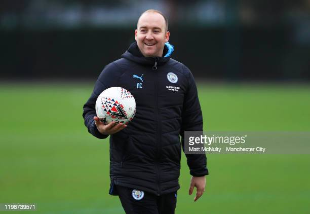 Nick Cushing Manager of Manchester City looks on during the training session at Manchester City Football Academy on January 10 2020 in Manchester...
