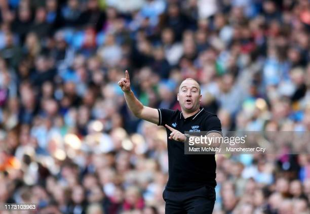 Nick Cushing manager of Manchester City shouts instructions during the Barclays FA Women's Super League match between Manchester City and Manchester...