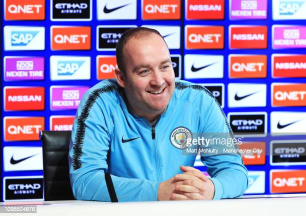 Nick Cushing Manager of Manchester City speaks during the press conference at Manchester City Football Academy on February 8 2019 in Manchester...