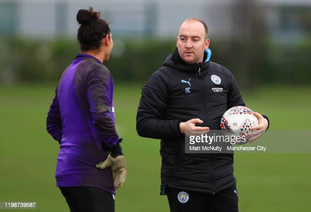 Nick Cushing Manager of Manchester City talks with Karima Benameur during the training session at Manchester City Football Academy on January 10 2020...