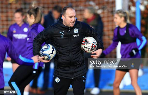 Nick Cushing Manager of Manchester City Women looks on during the training session at Manchester City Football Academy on January 03 2020 in...