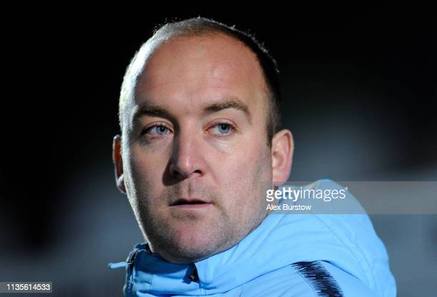 Nick Cushing Manager of Manchester City Women looks on prior to the FA Women's Super League match between Reading Women and Manchester City Women at...