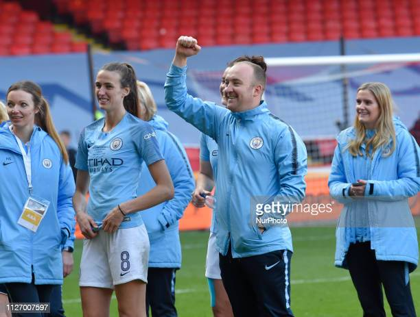 Nick Cushing Manchester City Manager celebrates hi teams victory during the FA Women's Continental League Cup Final between Arsenal and Manchester...