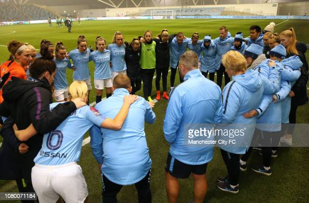 Nick Cushing the manger of Manchester City Women gives a pep talk prior to the Continental Cup Semi Final match between Manchester City Women of...