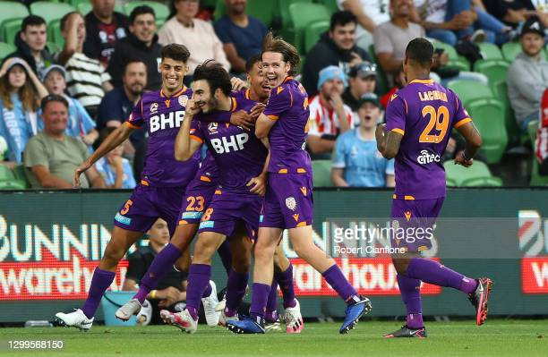 Nick D'Agostino of Perth Glory celebrates after scoring a goal during the A-League match between Melbourne City and the Perth Glory at AAMI Park, on...