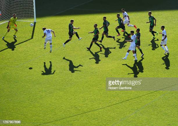 Nick D'Agostino of Perth Glory heads the ball to score during the A-League match between Western United and the Perth Glory at GMHBA Stadium, on...