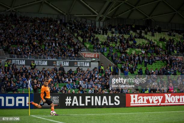 Nick DAgostino of the Brisbane Roar takes a corner surrounded by Melbourne Victory supporters during the Semi Final Match of the Hyundai ALeague...