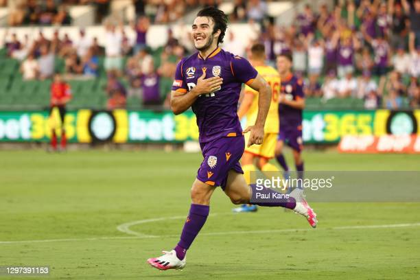 Nick D'Agostino of the Glory celebrates a goal during the A-League match between the Perth Glory and Adelaide United at HBF Park, on January 20 in...