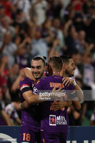 Nick D'Agostino of the Glory celebrates a goal during the round 18 ALeague match between the Perth Glory and the Wellington Phoenix at HBF Park on...