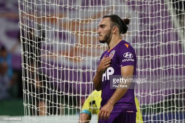 Nick D'Agostino of the Glory celebrates a goal during the round 18 A-League match between the Perth Glory and the Wellington Phoenix at HBF Park on...