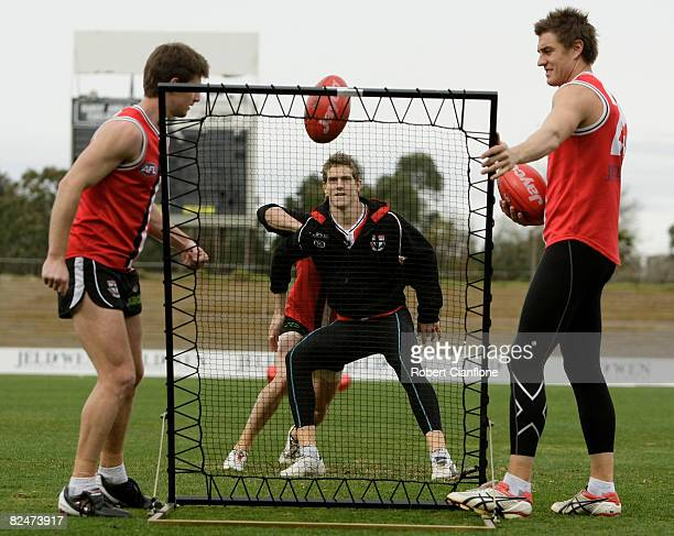 Nick Dal Santo of the Saints looks to get the ball during a St Kilda AFL training session held at Line House Oval August 20, 2008 in Melbourne,...