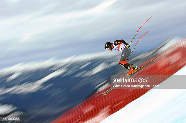 Nick Daniels of the USA competes during the Audi FIS Alpine Ski World Cup Men's Downhill Training on January 16 2014 in Wengen Switzerland