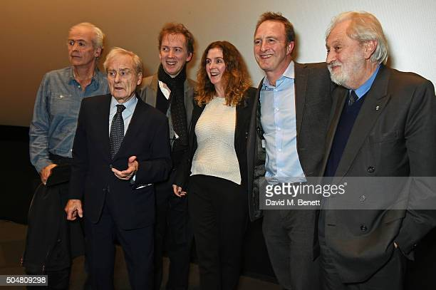 Nick Davies Harold Evans David Morris Jacqui Morris James Harding and Lord David Puttnam pose onstage at the film premiere of Attacking The Devil at...