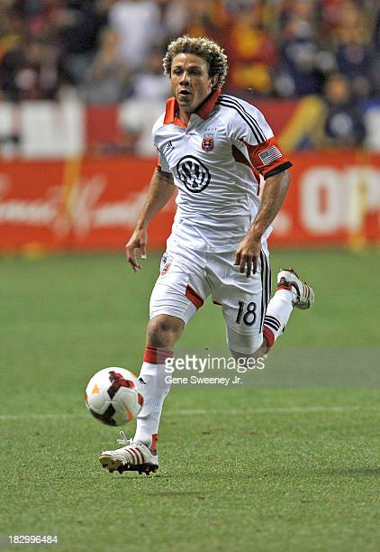Nick DeLeon of DC United moves the ball downfield against Real Salt Lake during the 2013 US Open Cup Final at Rio Tinto Stadium October 1 2013 in...