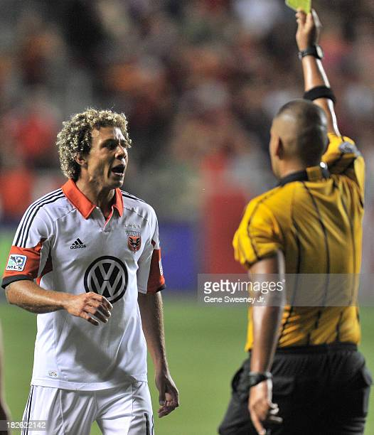 Nick DeLeon of DC United reacts to yellow card against Real Salt Lake at Rio Tinto Stadium October 1 2013 in Sandy Utah