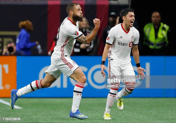Nick DeLeon of Toronto FC celebrates after scoring the goahead goal against the Atlanta United in the Eastern Conference Finals between Atlanta...
