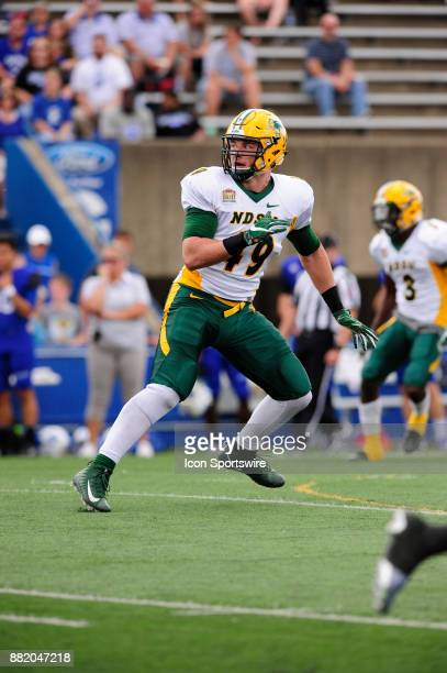 Nick DeLuca inside defensive linebacker North Dakota State University Bison plays against the Indiana State University Sycamores in a Missouri Valley...