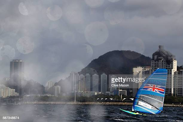 Nick Dempsey of Great Britain competes during the Men's RSX Race 2 on Day 3 of the Rio 2016 Olympic Games at Marina da Gloria on August 9 2016 in Rio...