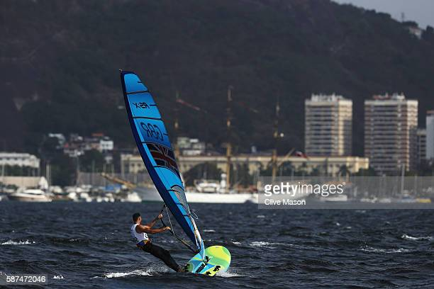 Nick Dempsey of Great Britain competes during the Men's RSX races on Day 3 of the Rio 2016 Olympic Games at Marina da Gloria on August 9 2016 in Rio...