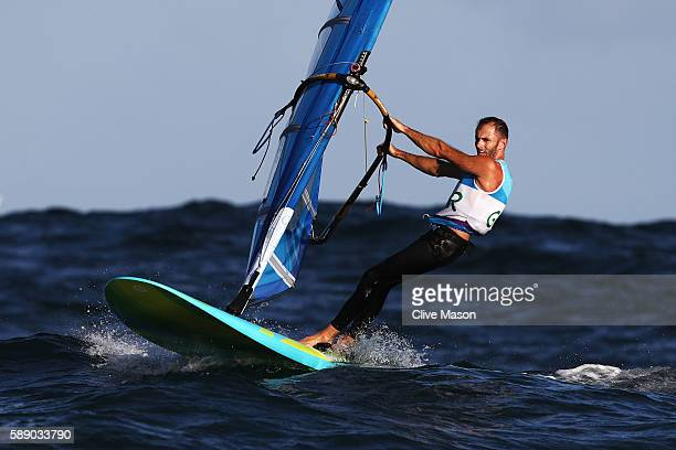 Nick Dempsey of Great Britain competes in the Men's RSX class on Day 7 of the Rio 2016 Olympic Games at Marina da Gloria on August 12 2016 in Rio de...