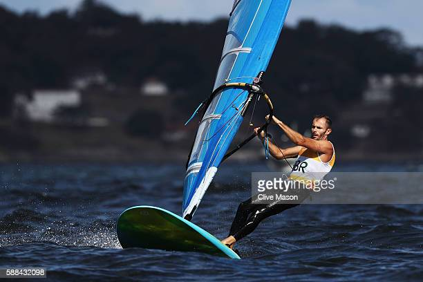 Nick Dempsey of Great Britain competes in the Men's RSX class races on Day 6 of the Rio 2016 Olympics at Marina da Gloria on August 11 2016 in Rio de...