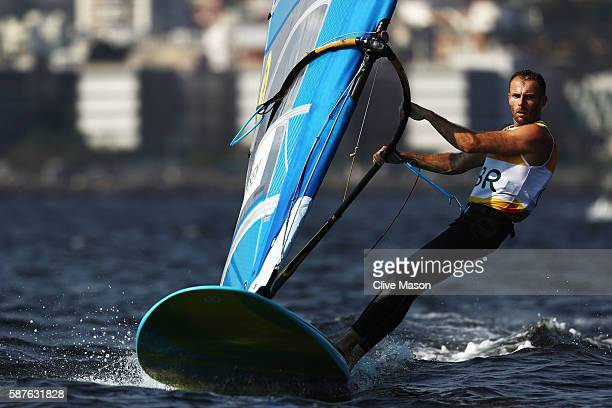 Nick Dempsey of Great Britain competes in the Men's RSX race on Day 4 of the Rio 2016 Olympic Games at the Marina da Gloria on August 9 2016 in Rio...