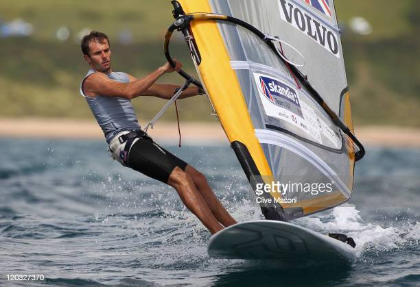 Nick Dempsey of Great Britain in action during a Mens RSX Class race during day three of the Weymouth and Portland International Regatta at the...