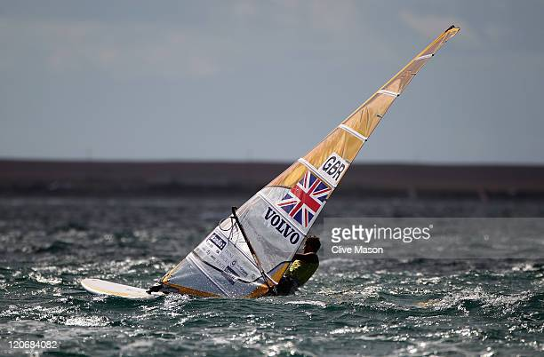 Nick Dempsey of Great Britain in action during an RSX Mens Class race during day seven of the Weymouth and Portland International Regatta at the...