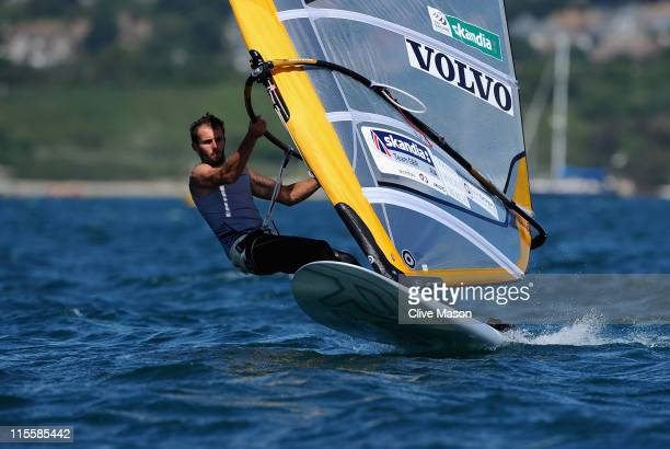 Nick Dempsey of Great Britain in action during an RSX race on day three of the Skandia Sail For Gold Regatta at the Weymouth and Portland National...