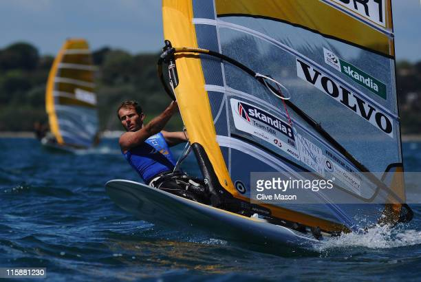 Nick Dempsey of Great Britain in action on his way to a gold medal in the RSX class medal race on day six of the Skandia Sail for Gold Regatta at the...