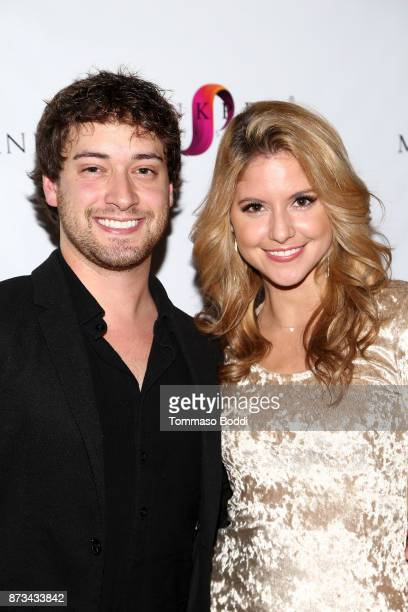Nick Diamond and Brittany Underwood attend the Premiere Of MarVista Entertainment's Wedding Wonderland on November 12 2017 in Los Angeles California