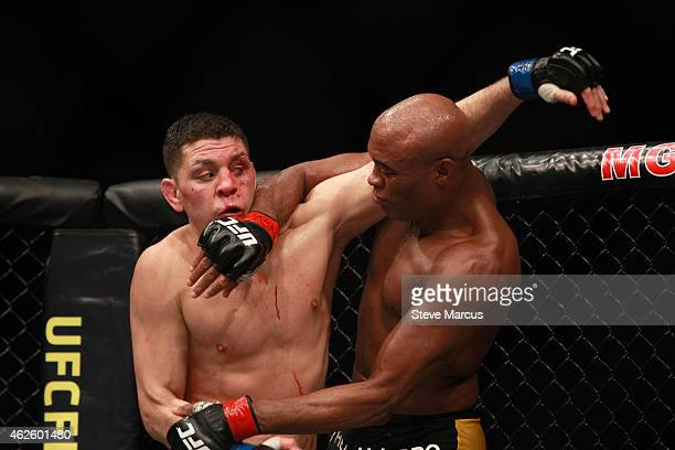 Nick Diaz and Anderson Silva fight in a middleweight bout during UFC 183 at the MGM Grand Garden Arena on January 31 2015 in Las Vegas Nevada Silva...
