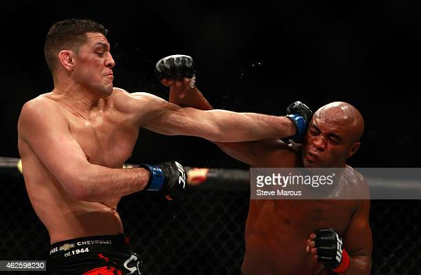 Nick Diaz and Anderson Silva trade punches in their middleweight bout during UFC 183 at the MGM Grand Garden Arena on January 31 2015 in Las Vegas...