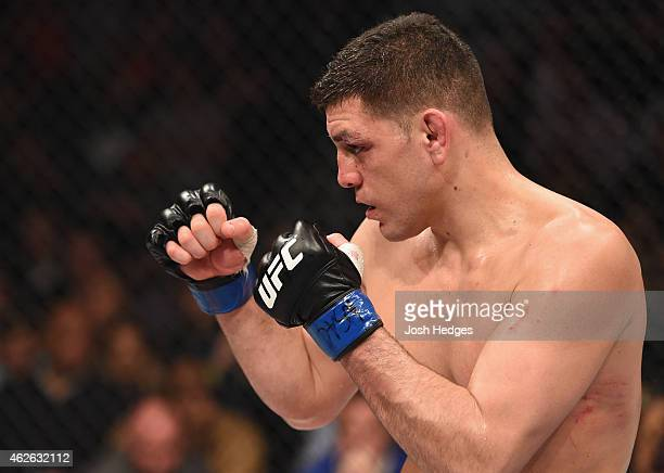 Nick Diaz battles Anderson Silva in their middleweight bout during the UFC 183 event at the MGM Grand Garden Arena on January 31 2015 in Las Vegas...