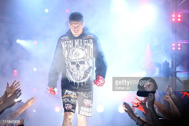 Nick Diaz enters the arena for his welterweight title defense against Paul Daley at the Strikeforce event at the Valley View Casino Center on April...