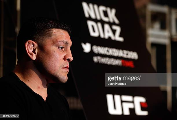 Nick Diaz interacts with media during the UFC 183 Ultimate Media Day at the MGM Grand Hotel/Casino on January 29 2015 in Las Vegas Nevada