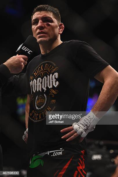 Nick Diaz speaks during his postfight interview after their middleweight bout during the UFC 183 event at the MGM Grand Garden Arena on January 31...