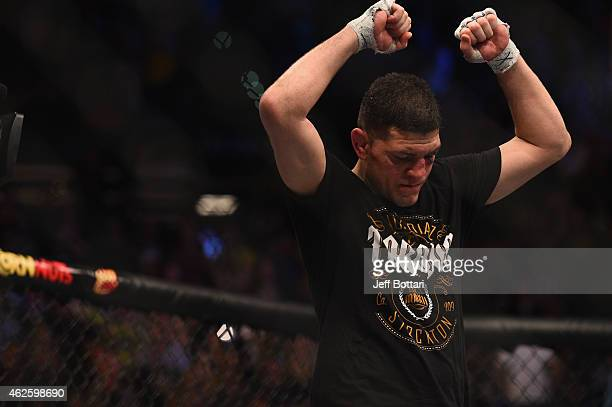 Nick Diaz stands in the Octagon after his middleweight bout during the UFC 183 event at the MGM Grand Garden Arena on January 31 2015 in Las Vegas...