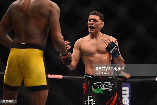 Nick Diaz taunts Anderson Silva in their middleweight bout during the UFC 183 event at the MGM Grand Garden Arena on January 31 2015 in Las Vegas...