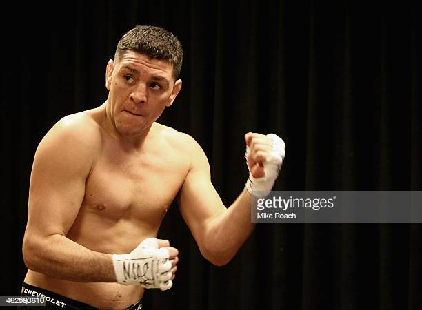 Nick Diaz warms up in the locker room during the UFC 183 event at the MGM Grand Garden Arena on January 31 2015 in Las Vegas Nevada