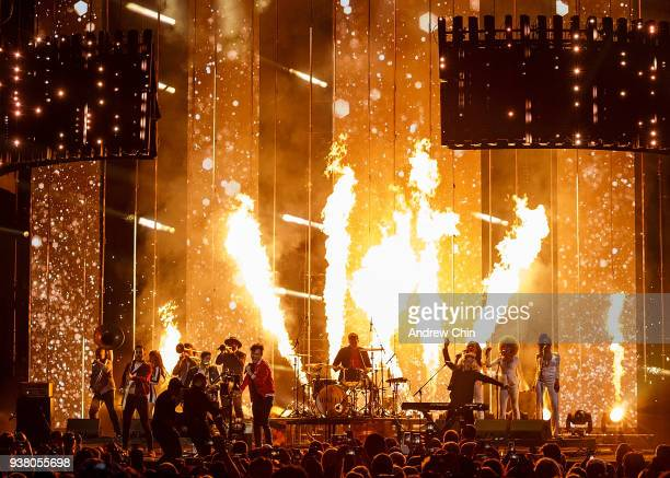 Nick Dika Anthony Carone Max Kerman Mike DeAngelis and Tim Oxford of rock band Arkells performs on stage during the 2018 JUNO Awards at Rogers Arena...