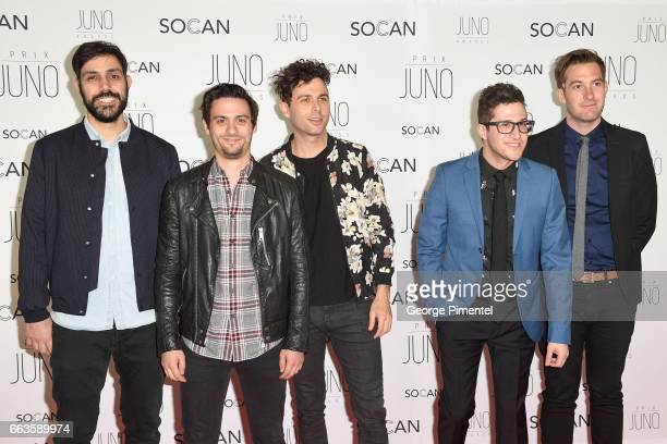 Nick Dika Mike DeAngelis Max Kerman Anthony Carone and Tim Oxford of the Arkells attend the 2017 Juno Gala Dinner and Awards at Shaw Centre on April...