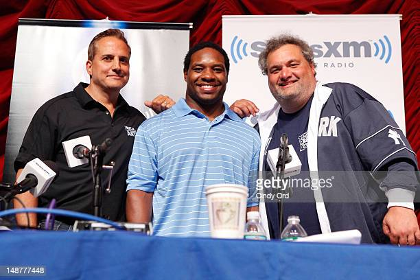 Nick DiPaolo, Maurice Jones-Drew and Artie Lange attend Sirius XM Annual Celebrity Fantasy Football Draft at Hard Rock Cafe New York on July 19, 2012...