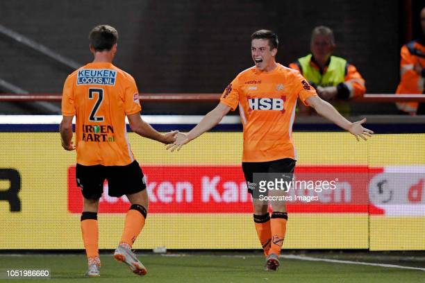 Nick Doodeman of FC Volendam celebrates 10 with Robin Schouten of FC Volendam during the Dutch Keuken Kampioen Divisie match between FC Volendam v...
