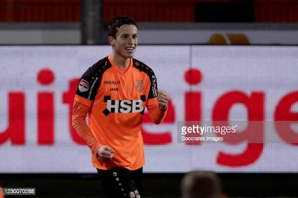 Nick Doodeman of FC Volendam celebrates 3-0 during the Dutch Keuken Kampioen Divisie match between FC Volendam v FC Den Bosch at the Kras Stadium on...