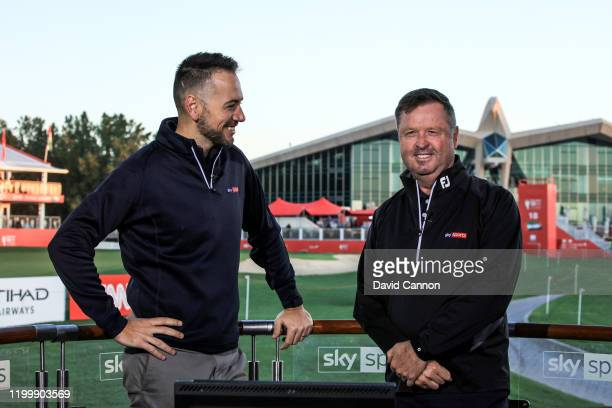 Nick Dougherty of England and Wayne Riley of Australia working for Sky Television during the first round of the Abu Dhabi HSBC Championship at Abu...