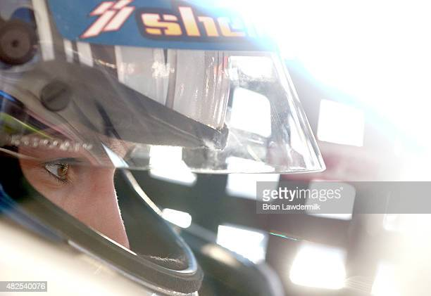 Nick Drake driver of the Carlyle Tools Toyota during practice for the NASCAR KN Pro Series #ThanksKenney 150 race at Iowa Speedway on July 31 2015 in...