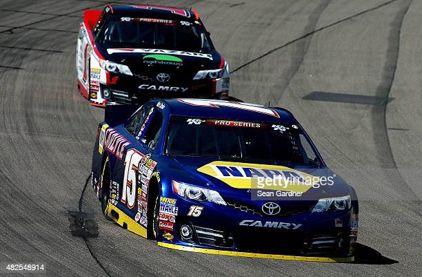 Nick Drake driver of the Carlyle Tools Toyota leads Jesse Little driver of the TBA Toyota during practice for the NASCAR KN Pro Series #ThanksKenny...