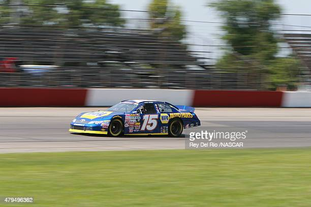 Nick Drake driver of the NAPA Toyota drives on the track during practice at the NASCAR KN Pro Series East at Columbus Motor Speedway on July 4 2015...