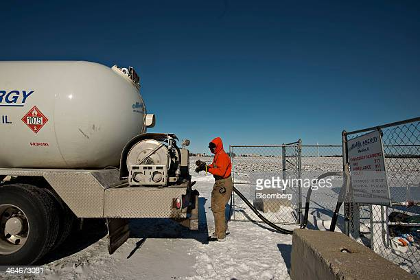 Nick Dykstra a liquid fuels technician with Michlig Energy Ltd prepares to fill his delivery truck from a 30000 gallon tank containing propane in...